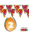 2x 2 jaar vlaggenlijn ballonnen