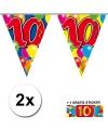 2x vlaggenlijn 10 jaar met gratis sticker