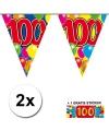 2x vlaggenlijn 100 jaar met gratis sticker