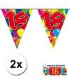2x vlaggenlijn 18 jaar met gratis sticker