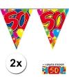 2x vlaggenlijn 50 jaar met gratis sticker