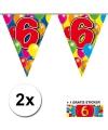 2x vlaggenlijn 6 jaar met gratis sticker
