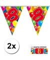 2x vlaggenlijn 8 jaar met gratis sticker