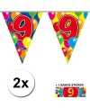 2x vlaggenlijn 9 jaar met gratis sticker