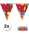 2x vlaggenlijn 90 jaar met gratis sticker