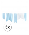 3 lichtblauwe vlaggenlijnen met stippen 3 6 m