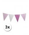 3 lila paarse vlaggenlijnen met stippen