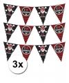 3 vlaggenlijnen piraten zwart met rood