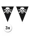 3x piraten vlaggenlijn zwart
