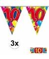 3x vlaggenlijn 10 jaar met gratis sticker