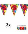 3x vlaggenlijn 2 jaar met gratis sticker