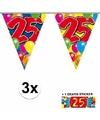 3x vlaggenlijn 25 jaar met gratis sticker