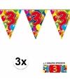 3x vlaggenlijn 3 jaar met gratis sticker