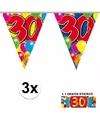 3x vlaggenlijn 30 jaar met gratis sticker