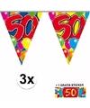 3x vlaggenlijn 50 jaar met gratis sticker