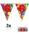 3x vlaggenlijn 6 jaar met gratis sticker