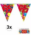 3x vlaggenlijn 65 jaar met gratis sticker