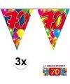 3x vlaggenlijn 70 jaar met gratis sticker