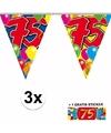 3x vlaggenlijn 75 jaar met gratis sticker