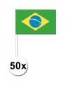 50 braziliaanse zwaaivlaggetjes 12 x 24 cm