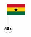 50 ghanese zwaaivlaggetjes 12 x 24 cm