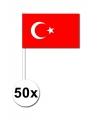 50 turkse zwaaivlaggetjes 12 x 24 cm