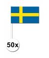 50 zweedse zwaaivlaggetjes 12 x 24 cm