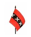 Amsterdam mini vlaggetje op stok 10 x 15 cm