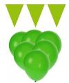 Groene versiering 15 ballonnen en 2 vlaggenlijnen
