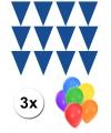 Pakket 3x vlaggenlijn xl blauw incl gratis ballonnen