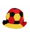 Pluche voetbal hoed zwart rood geel