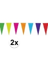 2x gekleurde vlaggenlijn van papier 10 mtr