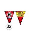 3x 10 jaar vlaggenlijn waarschuwingsbord 10mtr
