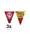 3x 75 jaar vlaggenlijn waarschuwingsbord 10mtr