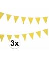 3x gele vlaggenlijnen met witte stippen 4 meter