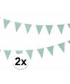 3x groene vlaggenlijnen met witte stippen 4 meter