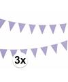 3x lila vlaggenlijnen met witte stippen 4 meter