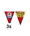 3x welkom thuis vlaggenlijn waarschuwingsbord 10mtr