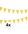 4x gele vlaggenlijnen met witte stippen 4 meter