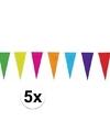 5x gekleurde vlaggenlijn van papier 10 mtr