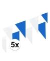 5x vlaggenlijnen blauw wit 10 meter