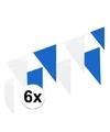 6x vlaggenlijnen blauw wit 10 meter