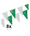 8x plastic vlaggenlijn groen wit