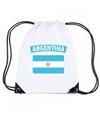Argentinie nylon rugzak wit met argentijnse vlag