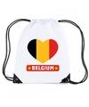 Belgie hart vlag nylon rugzak wit