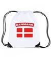 Denemarken nylon rugzak wit met deense vlag