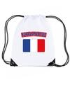 Frankrijk nylon rugzak wit met franse vlag