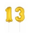Gouden opblaas cijfer 13 op stokjes