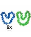 Hawaii bloemenkransen pakket groen/blauw 6 stuks