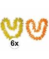 Hawaii bloemenkransen pakket oranje/geel 6 stuks